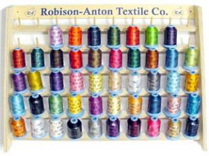 Robison Anton DISNEY CARD OPTIMIZED 47 Color Spools  Machine Embroidery Thread x 1100 YDS Polyester Machine Embroidery Thread & Wood Rack