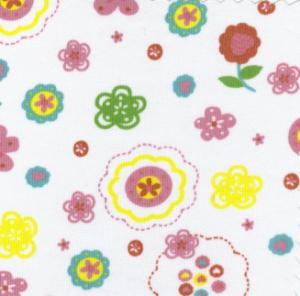"""Fabric Finders 15 Yd Bolt 9.99 A Yd #592 Pique 100% Pima Cotton Fabric White  With  Floral  60"""""""