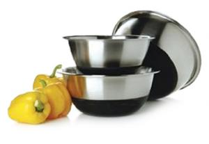 Amco 875SBK 3-Piece Non-Skid Stainless Steel Bowl Set