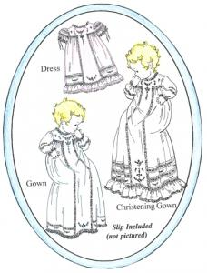 Old Fashion Baby Antique T Dress Christening Gown, Sewing Pattern By Jeannie Baumeister