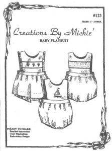 Creations by Michie, CB123, Baby Playsuit, 123 Pattern, Size 3-24mo