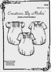 Creations by Michie, CB126, Dedication Bubble, 126 Pattern, Size Newborn-24mo