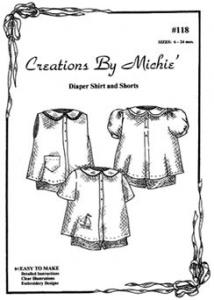 Creations by Michie, CB118, Diaper Shirt & Short Set, Pattern 118, Size 6-24mo