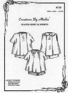 Creations by Michie CB110 Diaper Shirt & Short Set Pattern Size 6-24mo