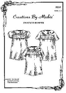 Creations by Michie CB114 Smocked Romper Sewing Pattern Size 2-5