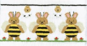 Cross-eyed Cricket CEC156 Bee Bunny Honey Smocking Plate
