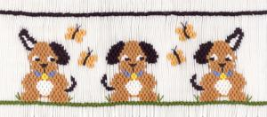 Cross-eyed Cricket  Curious Puppies #184 Smocking Plate