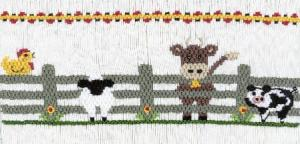 Cross-eyed Cricket  Curious Down on the Farm #145 Smocking Plate