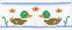Cross-eyed Cricket  Mallards and Monarchs #138 Smocking Plate