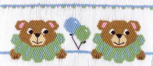 Cross-eyed Cricket  Party Bears #187 Smocking Plate