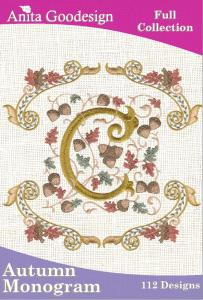 Anita Goodesign 50AGHD Autumn Monogram Full Collection Multi-format Embroidery Design Pack on CD