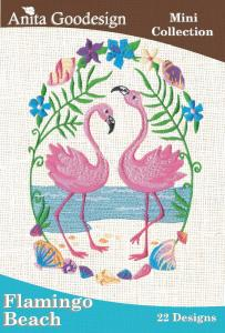 Anita Goodesign 31MAGHD Flamingo Beach Mini Collection Embroidery Design CD, Water Scenes, Tropical Flowers, Flamingos
