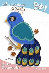 Anita Goodesign 29BAG Baby Peacocks Baby Collection Multi-format Embroidery Design Pack on CD