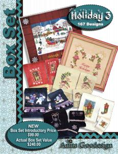 Anita Goodesign BX010 Holiday 3 Multi-format Embroidery Design Pack on CD