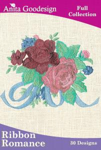 Anita Goodesign 07AGHD Ribbon Romance Full Collection Multi-format Embroidery Design Pack on CD