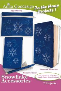 Anita Goodesign 21AGPJ Snowflake Accessories In the Hoop Collection Multi-format Embroidery Design Pack on CD
