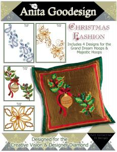 Anita Goodesign 96AGHD Pfaff Christmas Fashion Multi-format Embroidery Design Pack on CD