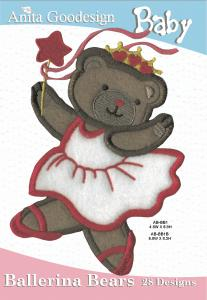 Anita Goodesign 22BAG Ballerina Bears Baby Collection Multi-format Embroidery Design Pack on CD