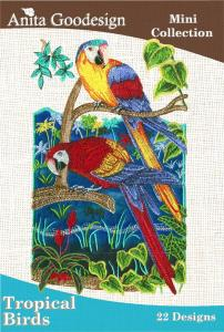 Anita Goodesign 32MAGHD Tropical Birds Mini Collection Multi-format Embroidery Design Pack on CD