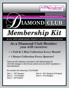 Anita Goodesigns, 1 Year Diamond Club, 2 New Design Packs Per Mo $1079, + 4 Exclusive Bonus Collections $460 (28/Yr), Starter Kit (767) $299