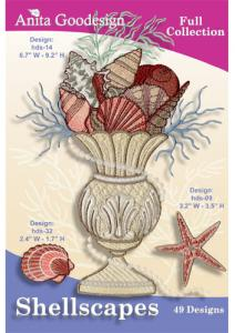 Anita Goodesign 122AGHD Shellscapes Full Collection Multi-format Embroidery Design Pack on CD , 49 Designs
