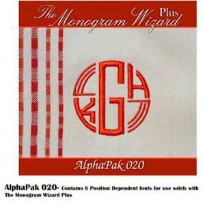 Alpha Pak 20, Fonts CD for Monogram Wizard Embroidery Software Only