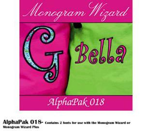 Alpha Pak 18, Fonts CD for Needleheads Monogram Wizard Plus Custom Alphabet Lettering Embroidery Machine Software ONLY