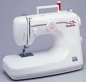 Simplicity SA-1100 11-Stitch, 35 Stitch Function American Denim Metal Gear Sewing Machine  with 8 Feet