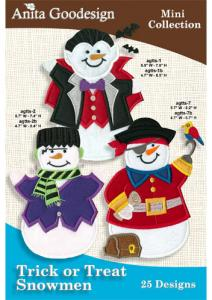 Anita Goodesign 80MAGHD Trick or Treat Snowmen Multi-format Embroidery Design Pack on CD, 25 Designs