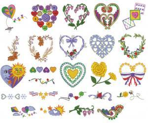 Amazing Designs ENHMC NZ12  Hearts for all Seasons Janome Elna Embroidery Card