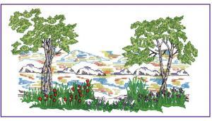 Amazing Designs PFMC NZ9 Four Seasons Landscape Pfaff Embroidery Card