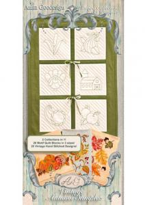Anita Goodesign 128AGHD Vintage Autumn Sampler Quilting Designs Multi-format Embroidery Design Pack on CD, 85 Designs