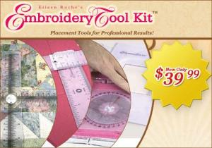 Designs In Machine Embroidery, ETK0010, Placement Tool Kit, Professional Results by Eileen Roche, Angle Finder, Centering, & Target Rulers, 3 Hoop Guards