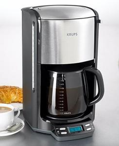 Krups FME414 12 Cup Glass Carafe, Programmable Timer Coffeemaker, 1100W, 60oz, LED Panel, Pause & Serve, 1-3 Cup Flavor Set, BLACK & Stainless Steel