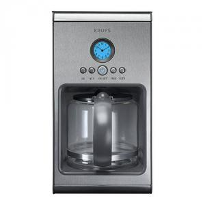 Krups KM1000 Intuitive 10-Cup Stainless Steel Coffeemaker with Glass Carafe