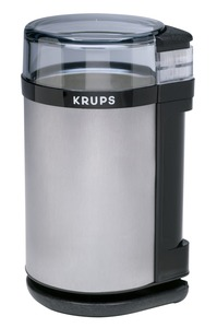 Krups GX4100-11 Coffee and Spice Mill, Brushed Stainless Steel, Grinder and Blades, 140W, 3oz Beans Capacity, Course to Fine, Safety Lid, Minces Herbs