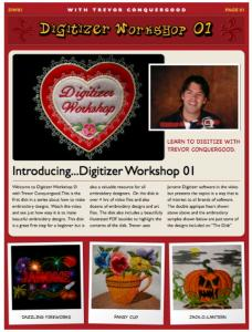 Janome SSSDW01 Digitizer Workshop 01 with Trevor Conquergood DVD, 4 Hour Video, 20 Page  Book, 20 Designs,