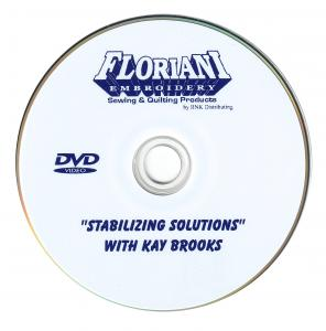Floriani, Stabilizing Solutions, Kay Brooks, 45 Minute, Instructional DVD, Video, Choose the Right Stabilizer, for Machine Embroidery, Hoop, Design, Projects, Floriani Stabilizer Solutions 45 Minute Instructional DVD Video by Kay Brooks, Tearaway Cutaway Water Soluble Stabilizers, Toppings for Machine Embroidery  Hoops