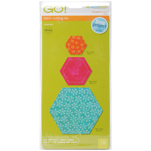 "HEXAGONS  -Go! Fabric Die, AccuQuilt Go 55011 Hexagon Dies 2"", 3"", 5"" for All Model Fabric Cutters"
