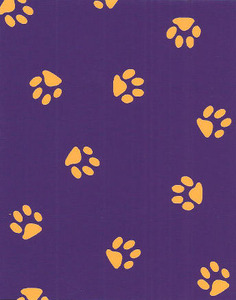 Fabric Finders 15 Yard Bolt 9.34 A Yd 1579 Purple With Gold Paws 100% Cotton 60 inchTwill