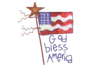 """White """"Americana"""" Embroidery Card For Brother, Baby Lock, Bernina Deco 500, 600, 650, Simplicity, & White PES"""