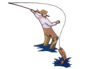 """White """"Gone Fishing"""" Embroidery Card For Brother, Baby Lock, Bernina Deco 500, 600, 650, Simplicity, & White PES"""