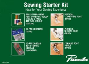 Brother, Sewing, Starter, Kit, SASCKIT1, 6, Poly, Threads , 10, SA156, Bobbins, Needles, 3, Feet, SA145, Clearview, Applique, SA150, Pearl, Sequins, SA157, Cording