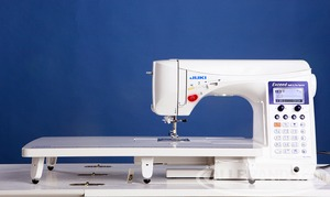 hzlf600, fzl f600, Juki, demo, HZL-F600, Exceed Series,  Full Sized, Computer Sewing, Quilting Machine, Juki HZL F600 Exceed, 255 Stitch, Computer, Sewing Quilting Machine, 4 Fonts, 16 Buttonholes, Walk Foot,  Box Feed, Threader, Trimme, Knee Lever, Ext Table, 900SPM, 22Lbs