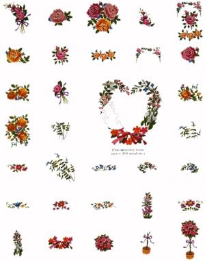 Singer No. 15 Gigantic Floral Patterns Embroidery Card #386797 for XL100, 150 & 1000 Quantum Sewing Machines