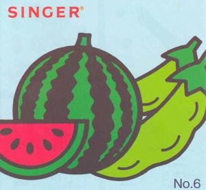 Singer No. 6 Fruits & Vegetables Designs Embroidery Card #386049 for XL100, 150 & 1000 Quantum Sewing Machines REDUCED $30