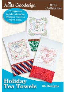 Anita Goodesign 91MAGHD Holiday Tea Towels Embroidery Collection on CD, 36 Designs Total