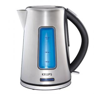 Krups BW3990 Prelude Intuitive Kettle, Stainless Steel, Auto Off, 1.8 Qt, 1500W, Auto Off, On Off Switch & Light, Water Level ID, Anti Scale Filter