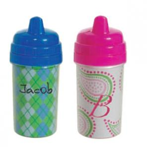 "Acrylic Custom Photo 8.42 x 4.69"" or cut Kiwi Paper, 10 Ounce Sippy Cup 6 5/8"" Tall, # 503 Toddler Cup, Matching Lid, Easy twist open spill-proof top"