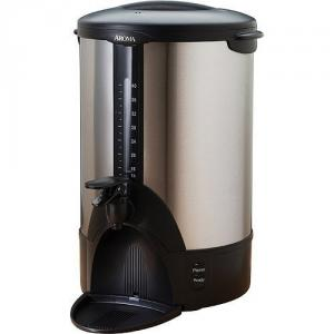 Aroma ACU-140S 40-Cup Stainless Steel Coffee Urn, Removeable Dip Tray, Lock-On Lid, Water Level Indicator